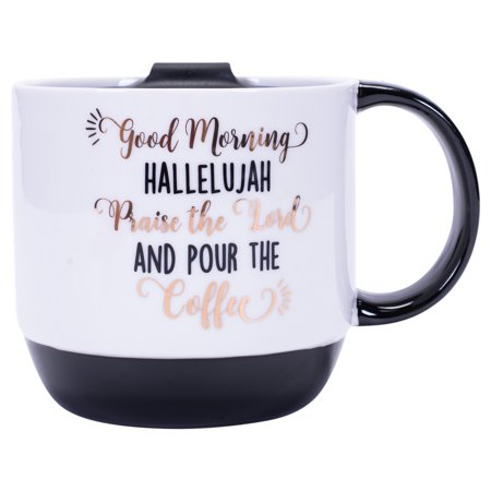 Good Morning Hallelujah Praise Lord Pour Coffee 16 Ounce Ceramic Mug with Plastic Lid