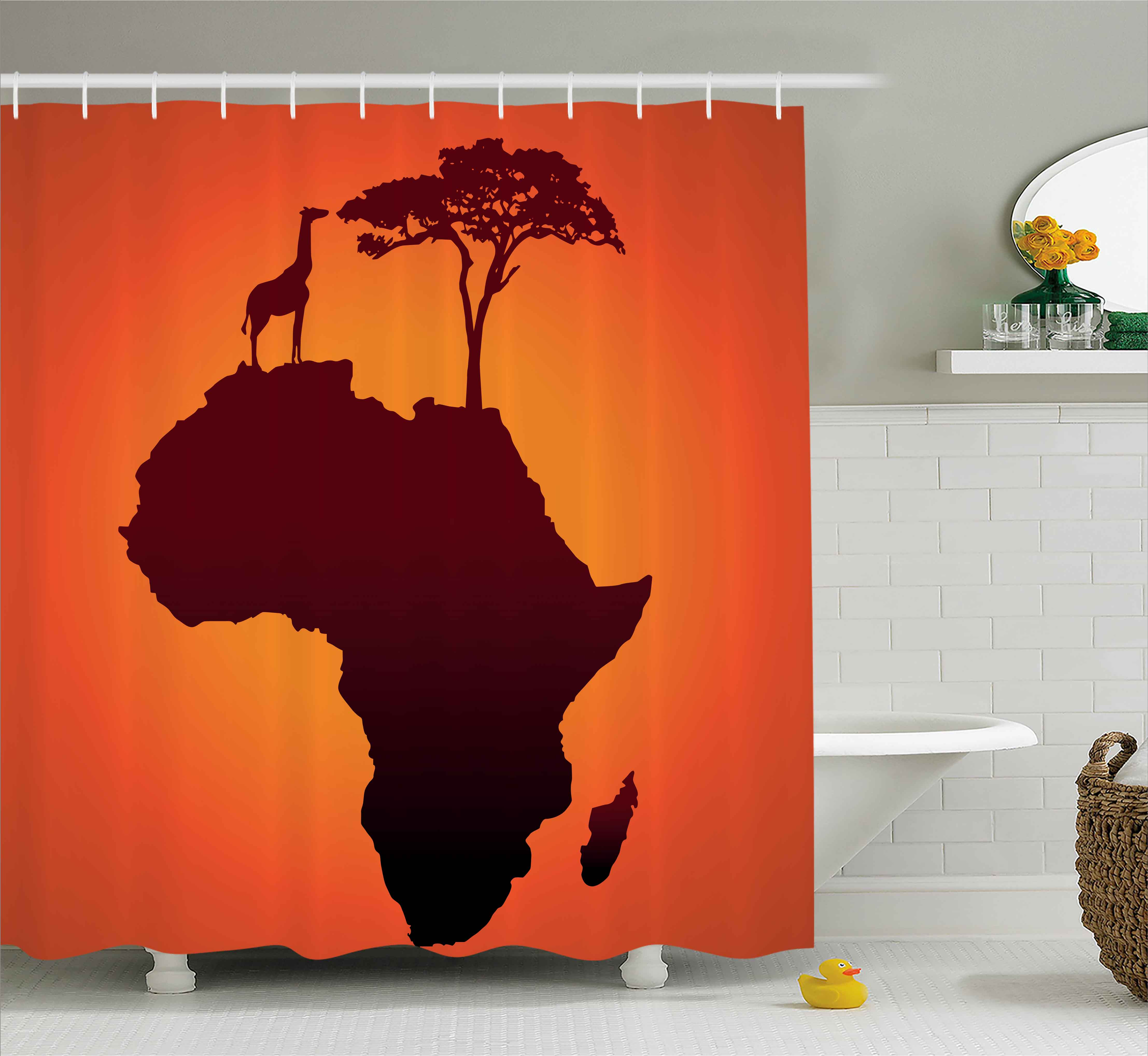 African Decor Shower Curtain, Safari Map with Continent G...