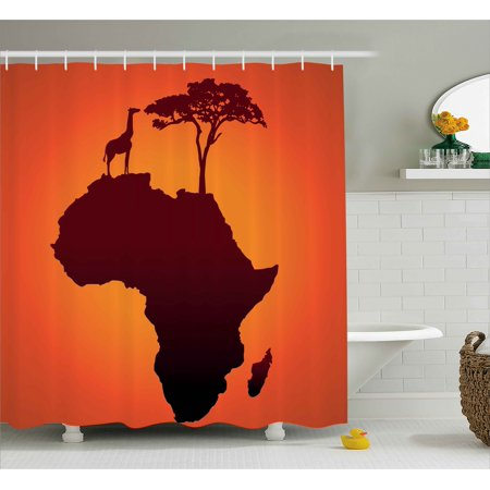 African Decor Shower Curtain Safari Map With Continent Giraffe And Tree Silhouette Savannah Wild Design