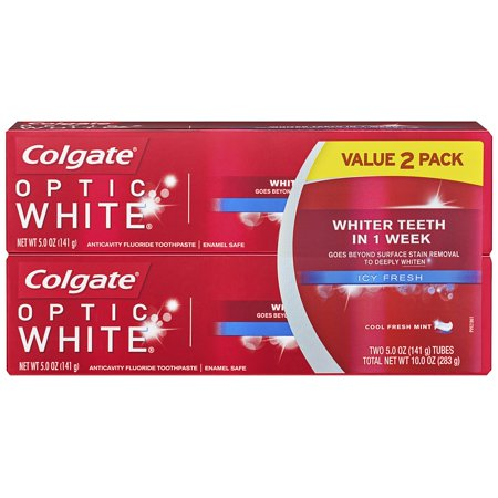 Colgate Optic White Whitening Toothpaste, Icy Fresh - 5.0 Ounce (2