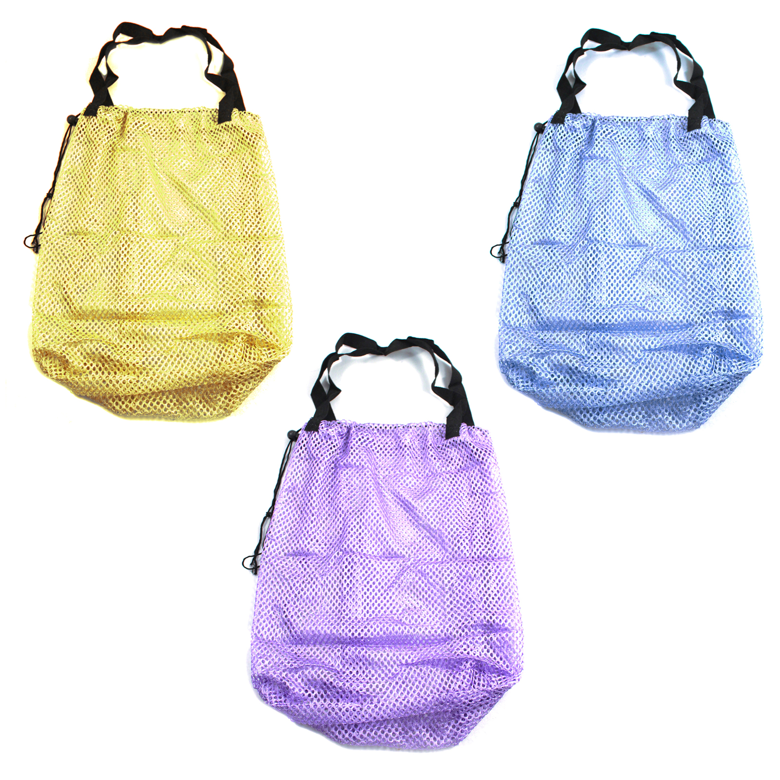 Mesh Multipurpose Bag Grocery Shopping Tote Sturdy Nylon Handle Drawstring Close