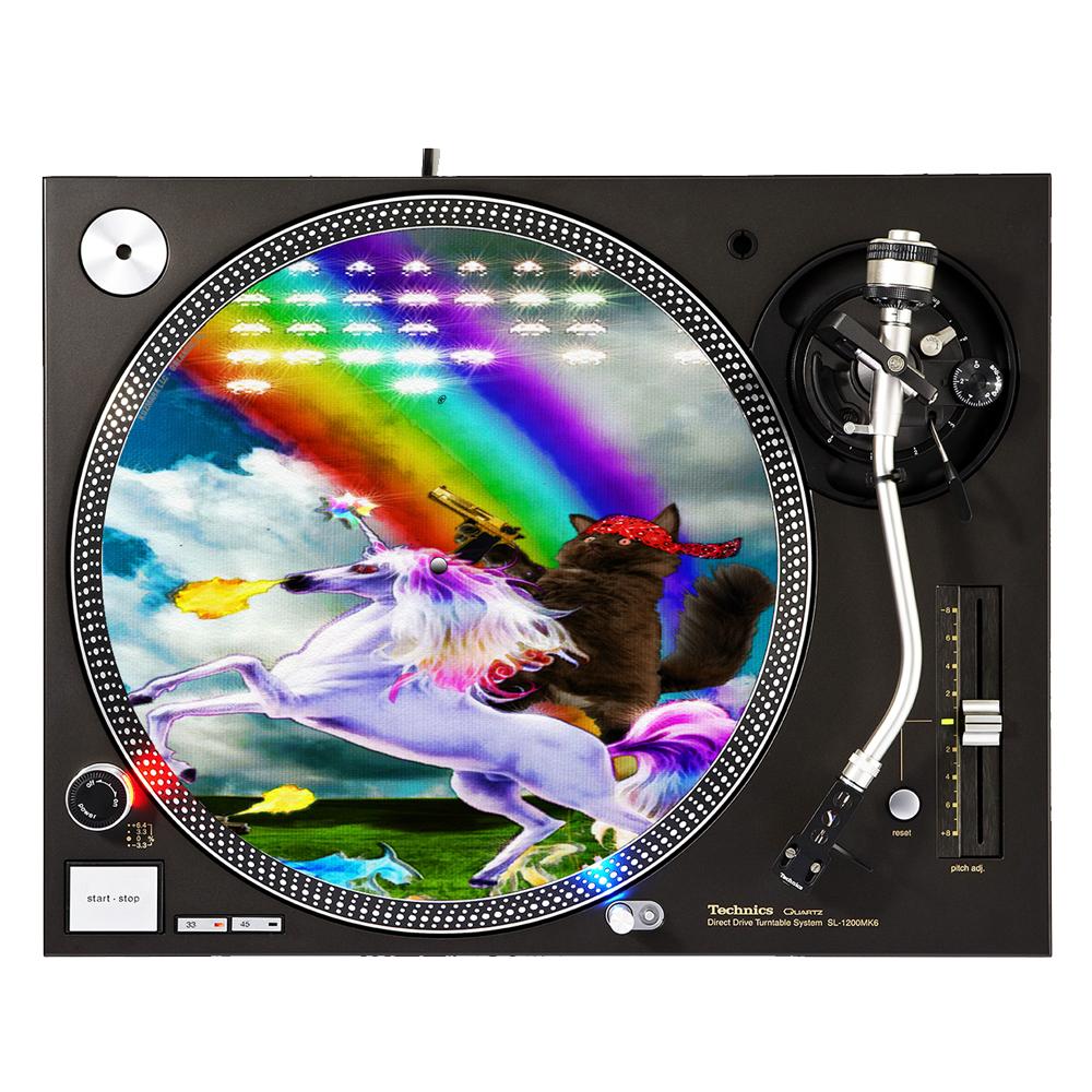 """KuzmarK™ 12"""" DJ Turntable Slipmat - Kitty Cat Gold Gun Rainbow Unicorn"""