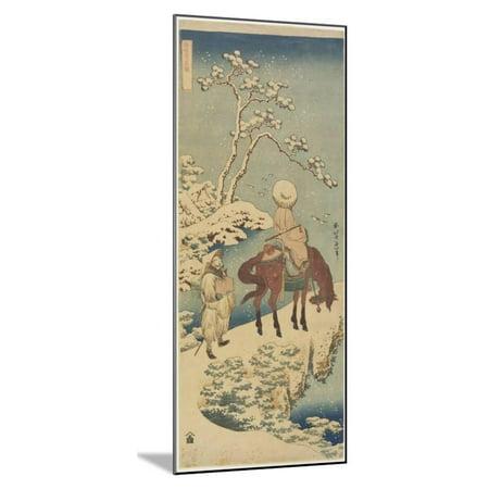 Horseman in Snow, 1833-1834 Wood Mounted Print Wall Art By Katsushika Hokusai