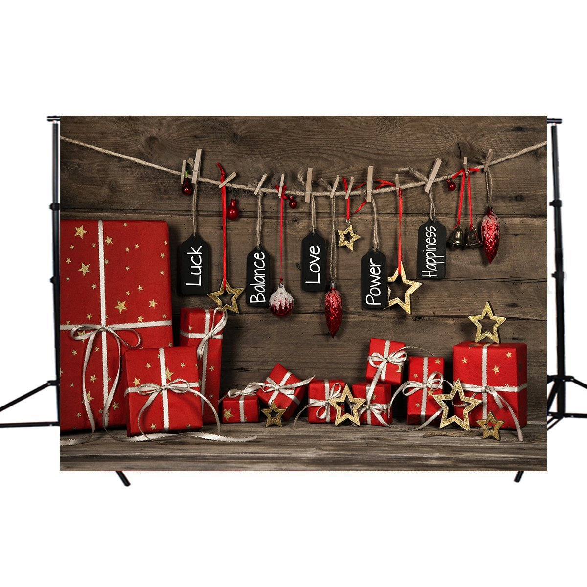 ABPHOTO Polyester Photography Background 7x5ft Merry Christmas Christmas Gifts Photography Photo Backdrop For Photographers