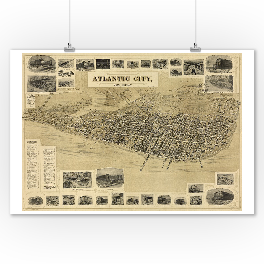 Atlantic City, New Jersey - Panoramic Map (9x12 Art Print, Wall Decor Travel Poster)