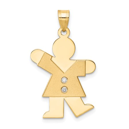 14K Yellow Gold AA Diamond Kid Pendant - image 1 of 2