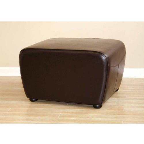 Full Leather Ottoman with Rounded Sides, Multiple Colors