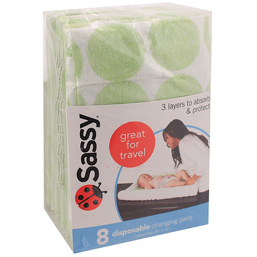 Sassy 8-Count Disposable Travel Changing Pads