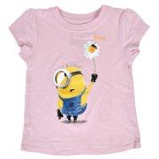 Despicable Me Minions Toddlers T-Shirt Icy Pink Glitter Floral Bee Print