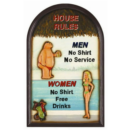 Funny Framed Swimming Pool Sign w House Rules