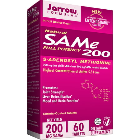 Jarrow Formulas SAM-e, Promotes Joint Strength, Mood and Brain Function, 200 mg, 60 Enteric-Coated tabs (Support 200 Tabs)