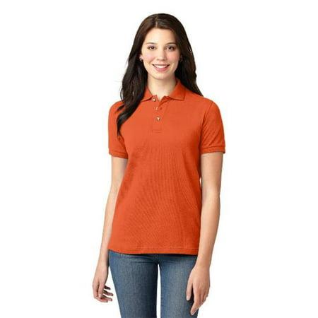 Port Authority L420 Ladies Heavyweight Cotton Pique Polo T-Shirt, Orange - Large - image 1 of 1