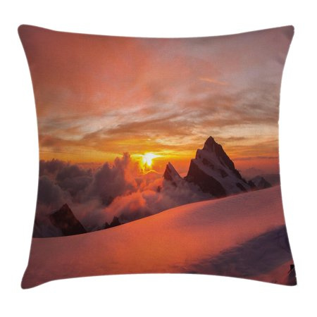 Lake House Decor Throw Pillow Cushion Cover, Sunrise in Swiss Alps with Magical View of Mountain Natural Paradise, Decorative Square Accent Pillow Case, 16 X 16 Inches, White Yellow, by (Switzerland Cover)