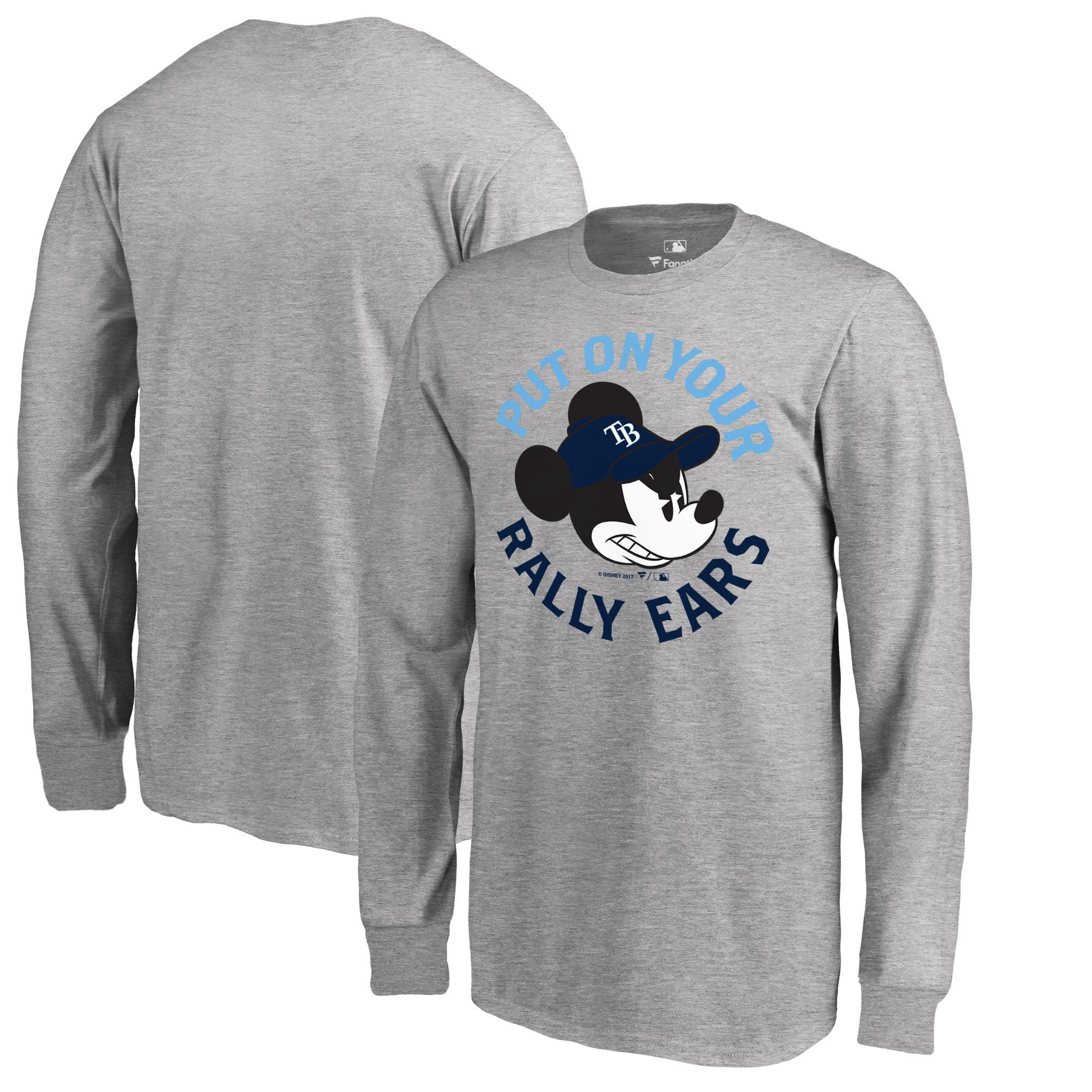 Tampa Bay Rays Fanatics Branded Youth Disney Rally Ears Long Sleeve T-Shirt - Heathered Gray