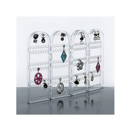 LuckyFine Foldable Acrylic Earring Stand ,Beautify Jewelry Hanger Organizer, Screen Stud Foldable Jewelry Display Stand Unit Earring Holder