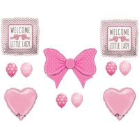 Welcome Little Lady Baby Girl Shower Balloons Decoration Supplies Hair Bow