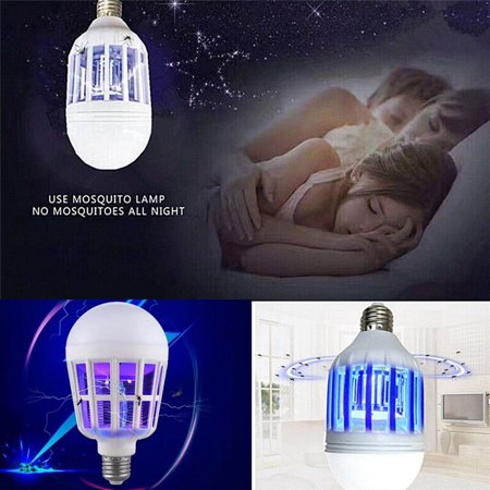 2 in 1 Bug Zapper LED Bulb, E27 15W Mosquito Killer Lamp, Pest Control Light Bulbs for Lures, Zaps & Kills