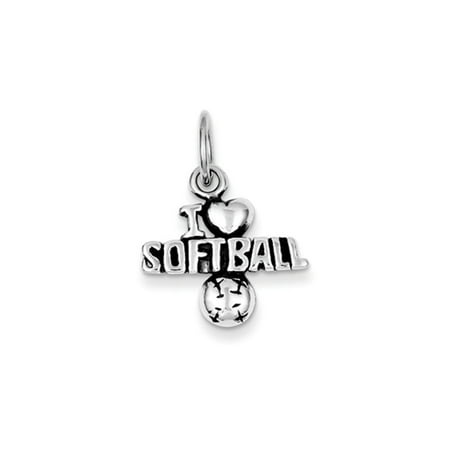 Sterling Silver Antiqued I Heart Softball Script Charm (Softball Charms)