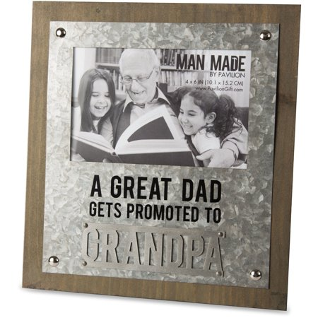 Fathers Day Frames (Man Made - A Great Dad gets Promoted to Grandpa Metal Father's Day 4x6 Picture)
