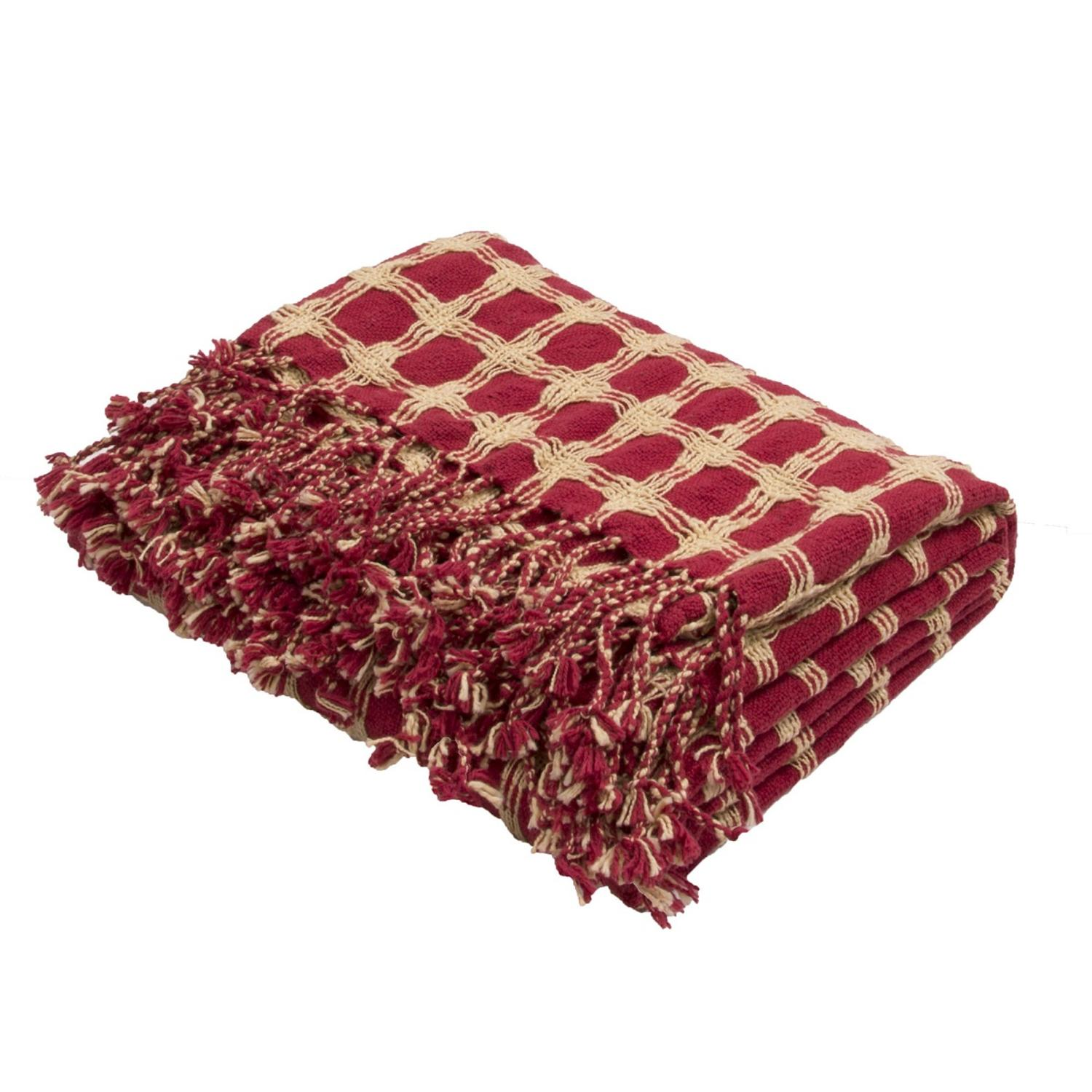 "51"" x 71"" Red and Cream Fringed Cotton Throw Blanket"