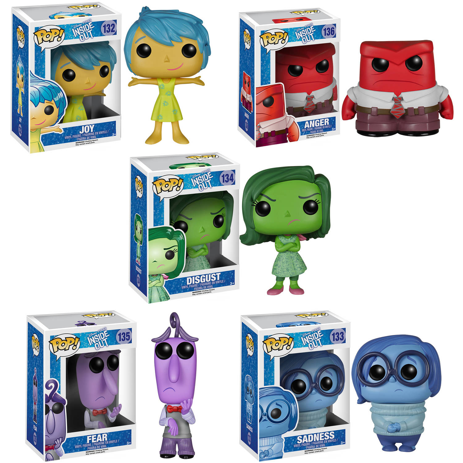 Funko Inside Out POP! Disney/Pixar Vinyl Collectors Set: Sadness, Joy, Disgust, Anger, Fear G847944000716