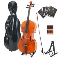 Cecilio CCO-600 Ebony Fitted Hand Oil-Rubbed Flamed Solid Wood Cello, Full Size 4/4