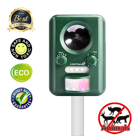 LIGHTSMAX Solar Ultrasonic Animal Repeller, Waterproof Solar Animal Repeller Rodent and Pest Repeller Cats, Dogs, Mice, Squirrel Repellent, Motion Activated with Flashing LED Light