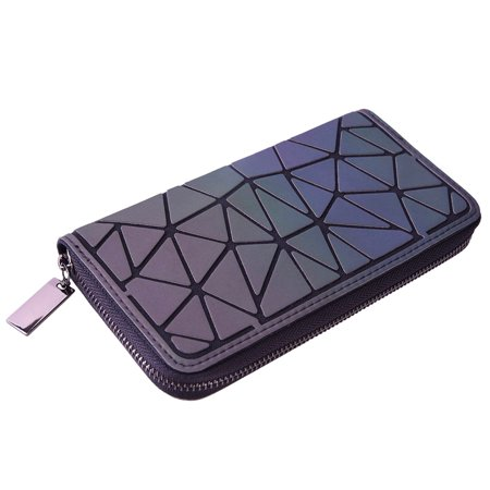Holographic Geometric Luminous Clutch Wallet Long Lattice Iridescent Purse Handbag with Coin Pocket for Women Cellphone Ladies Three Part Clutch Wallet