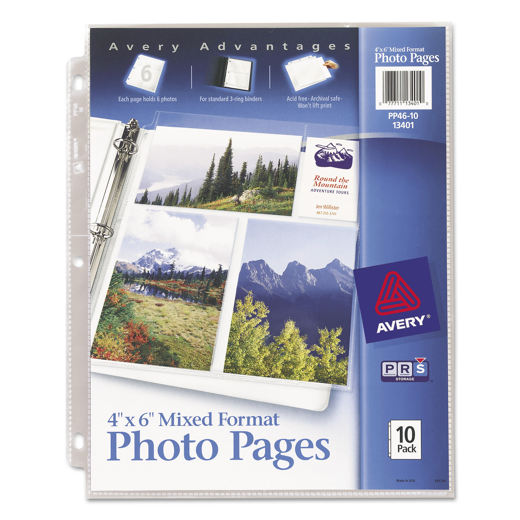 "Avery(R) 4"" x 6"" Mixed Format Photo Pages 13401, Acid Free, Pack of 10"
