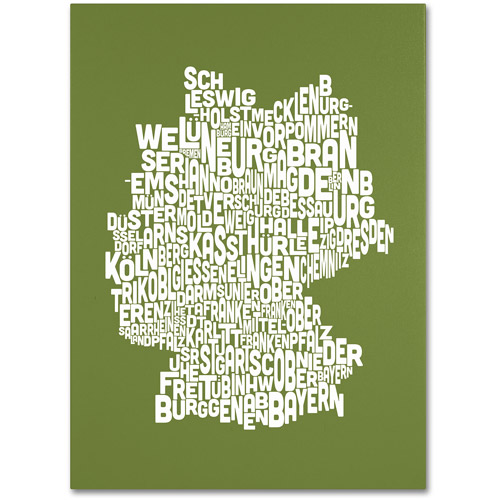 Trademark Art 'OLIVE-Germany Regions Map' Canvas Art by Michael Tompsett