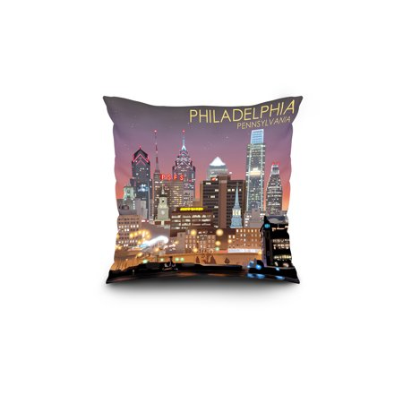 Philadelphia Pennsylvania Skyline at Night Lantern Press Artwork 18x18