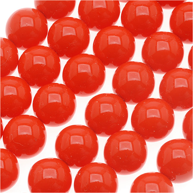 Czech Glass Round Party Beads 6mm - Neon Coral (1 Strand / 29 Beads)