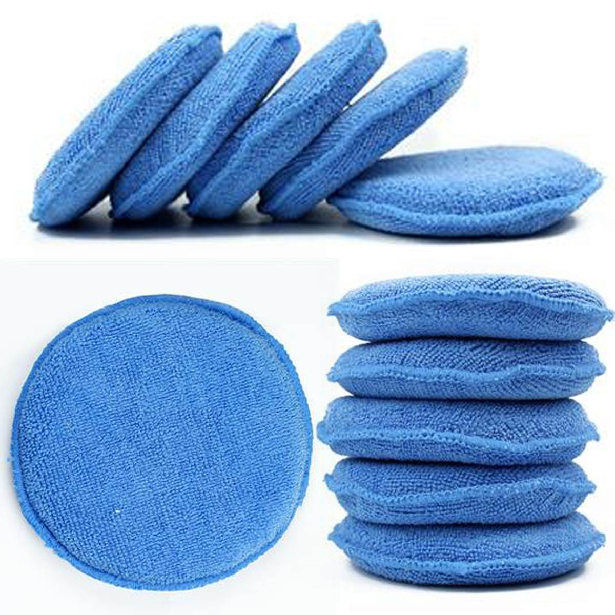 10pcs Waxing Polish Wax Foam Sponge Applicator Pads Cars Vehicle Glass Clean (Blue)