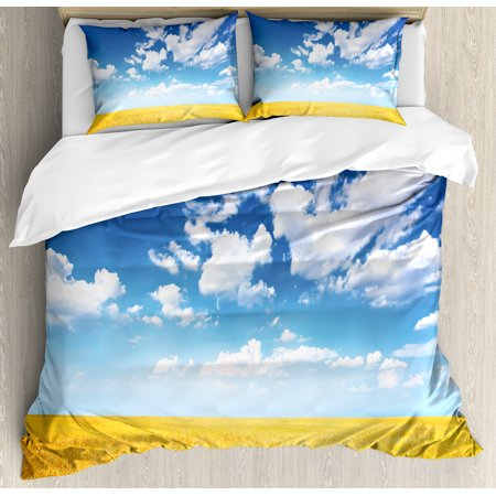 Yellow And Blue King Size Duvet Cover Set  Wheat Field Vibrant Summer Harvest Sunbeam Rural Farm Scenery  Decorative 3 Piece Bedding Set With 2 Pillow Shams  Earth Yellow Blue White  By Ambesonne