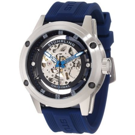 Automatic Skeleton Rubber (Stuhrling Original Men's 314R.3316C51 Leisure Zolara 360 Automatic Skeleton Blue Rubber Strap Watch )