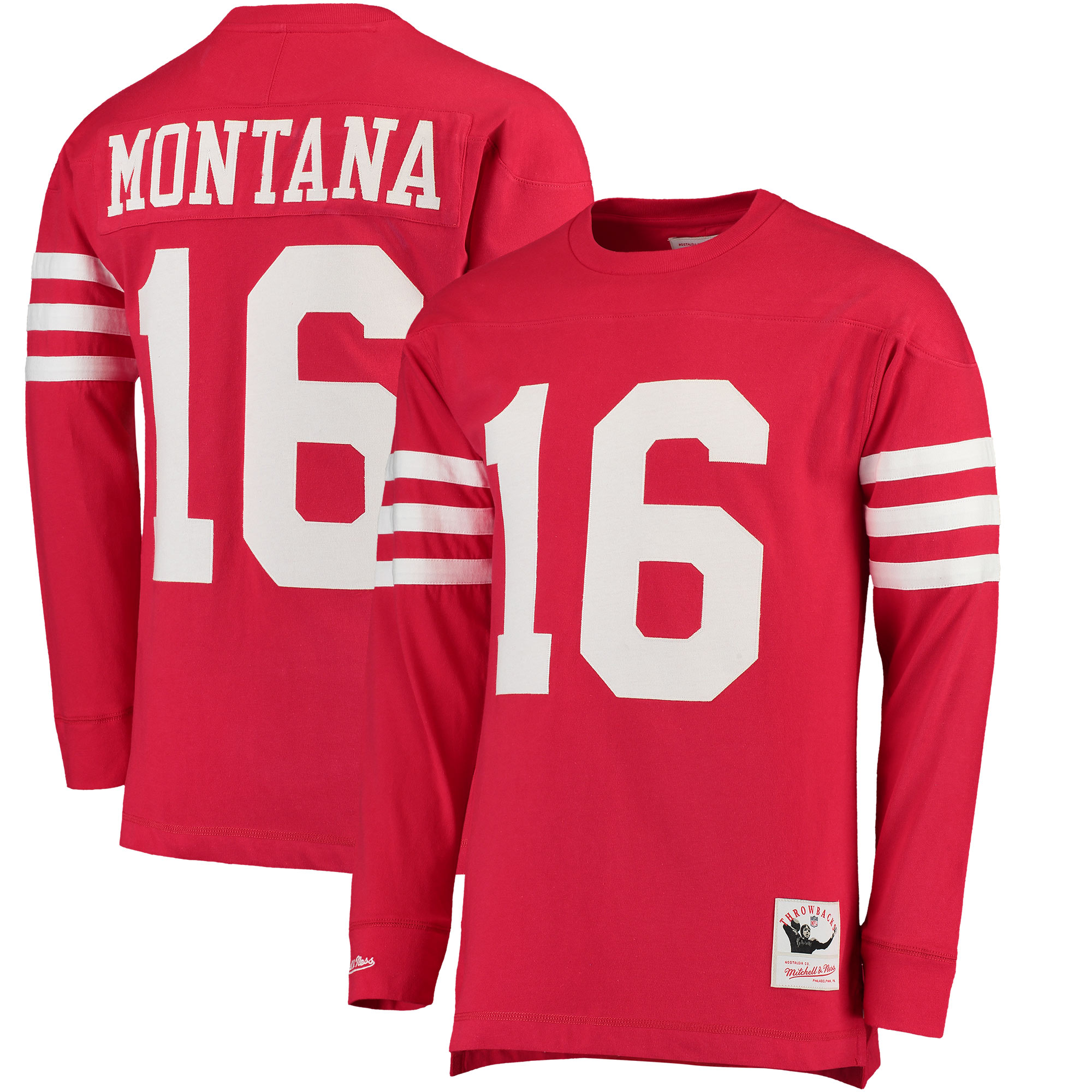 uk availability 93f53 444c8 Joe Montana San Francisco 49ers NFL Mitchell & Ness Red 1989 Jersey  Inspired Longsleeve Knit Shirt For Men