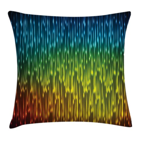 Farmhouse Decor Throw Pillow Cushion Cover, Galaxy Universe Outer Space Inspired Technical Neon Rain Modern Artful Print, Decorative Square Accent Pillow Case, 18 X 18 Inches, Multi, by Ambesonne - Outer Space Decor