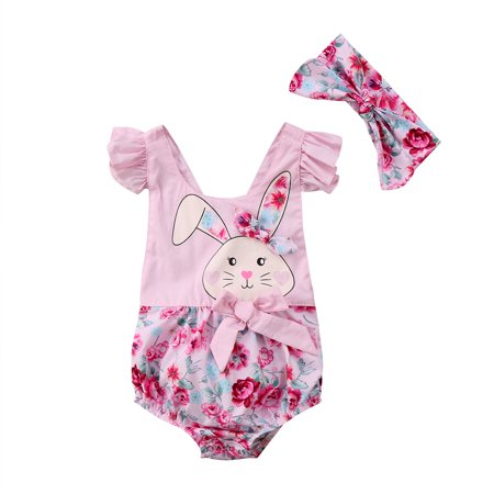 Easter Newborn Baby Girls Bunny Floral Romper Jumpsuit Bodysuit Clothes Outfits Summer 0-6 Months