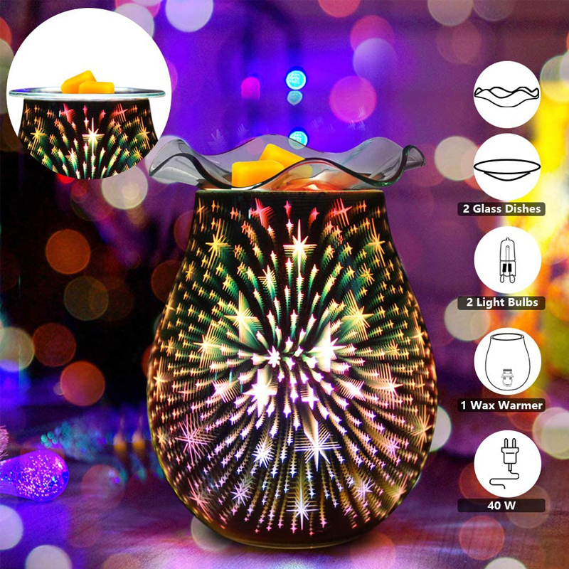 Electric Candle Warmer Glass Wax Melt Warmer with 3D Firework Effect Night