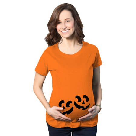 Twin Maternity Halloween Shirts (Maternity Twin Pumpkin Faces Tshirt Cute Halloween Jack-O-Lantern Pregnancy)