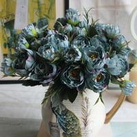 European Mini Peony Peony Five-color Artificial Silk Flower Peony Fake Flowers Bouquet Bride Wedding Party Home Decor