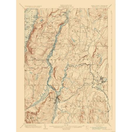 Map Of New York And Vermont.Topographic Map Whitehall New York Vermont Quad Usgs 1902 23 X 30 53