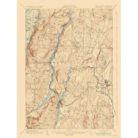 Topographic Map Vermont.Topographic Map Whitehall New York Vermont Quad Usgs 1902 23 X