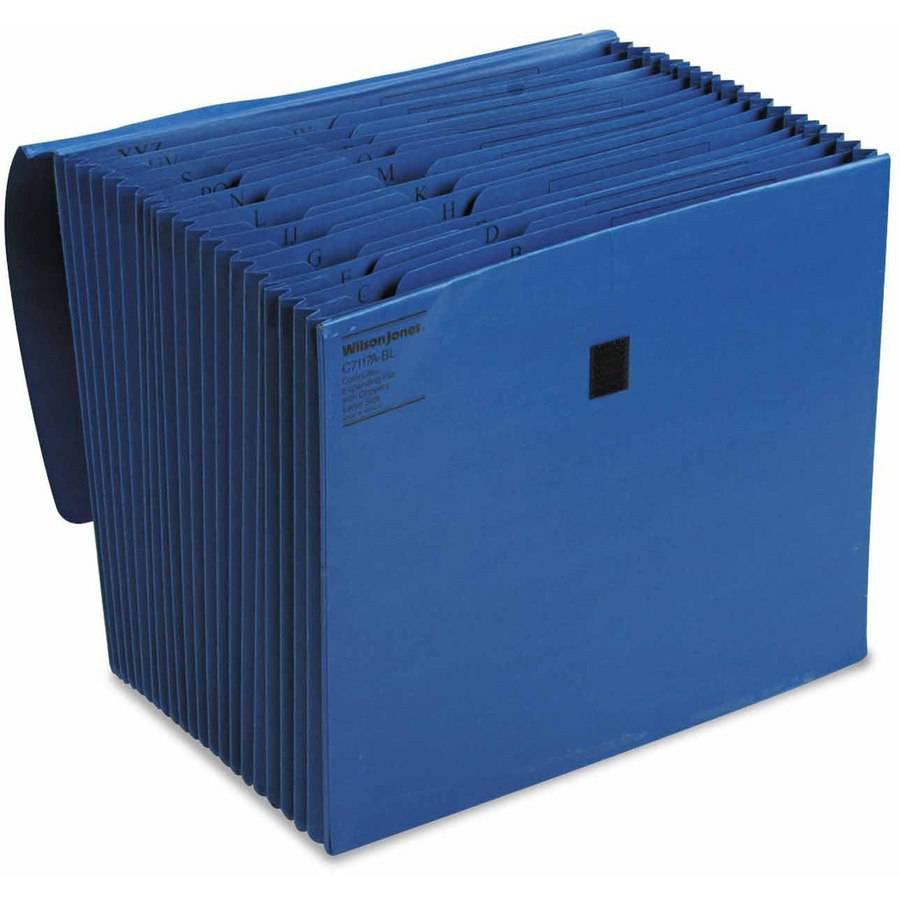 Wilson Jones ColorLife Expanding A-Z Files with Velcro, 21 Pocket, Letter, Dark Blue