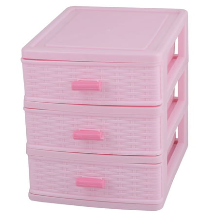 Family Plastic 3 Layers Jewelry Pen Sundries Storage Cabinet Container Box Pink Pink Plastic Dessert