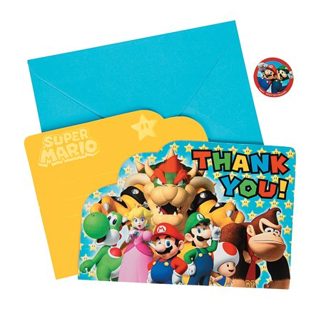 Super Mario Thank You Cards (8pc) for Birthday - Party Supplies - Licensed Tableware - Licensed Invitations - Birthday - 8 Pieces (Luigi Party Invitations)