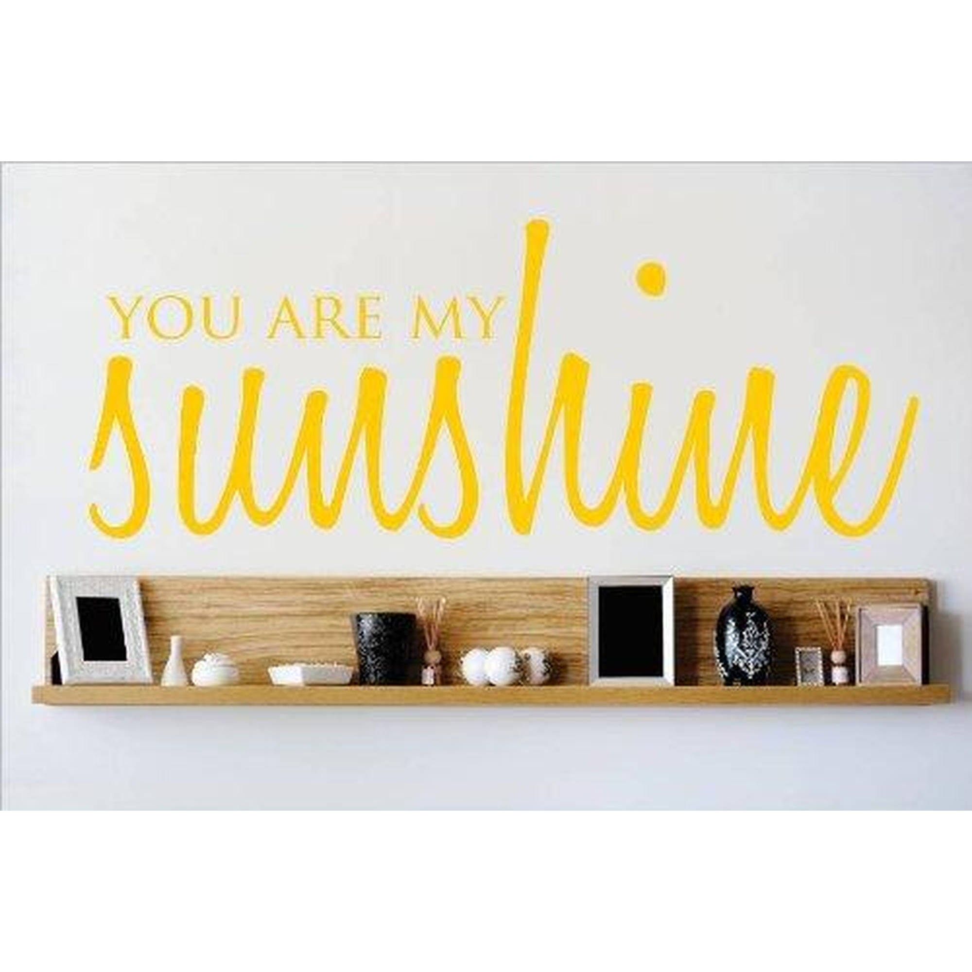 "You Are My Sunshine Quote Living Room Vinyl Wall Decal, 9"" x 20"", Yellow"