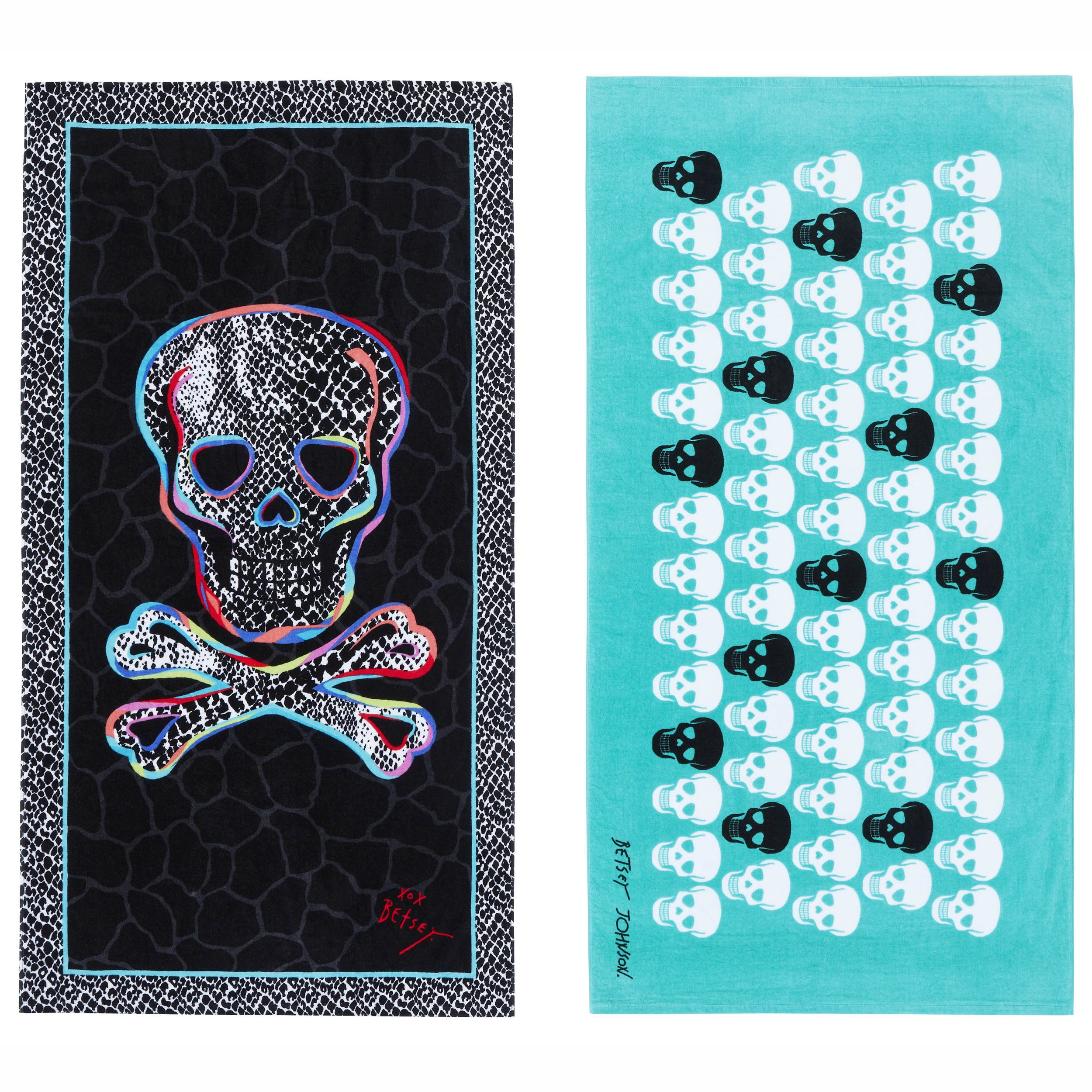 Betsey Johnson Skull Party Beach Towel Set - Walmart.com