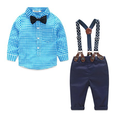 Newborn Toddler Kids Baby Boy Gentleman Suit Bow Tie Plaid Shirt+Suspender Pants Trousers Outfit Set 0-6 Months