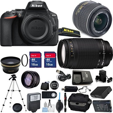 Nikon D5600 24.2MP 3.2-Inch Camera with 18-55mm VR II Lens, 70-300mm G Lens and